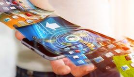 De telefoonachtergrond van de zakenmanomschakeling op moderne apparaten 3D rende Stock Afbeelding