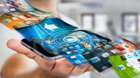 De telefoonachtergrond van de zakenmanomschakeling op moderne apparaten 3D rende Royalty-vrije Stock Afbeelding