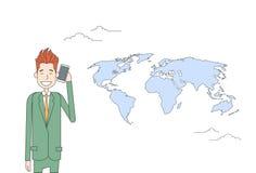 De Telefoonbespreking van de bedrijfsmensen Slimme Cel over van de Achtergrond wereldkaart Zakenman Network Communication Concept Stock Afbeeldingen