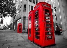 De Telefoondozen van Londen Stock Fotografie