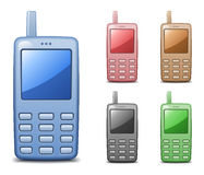 De telefoonpictogrammen van de cel Stock Foto's