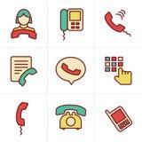De Telefoonpictogrammen van de pictogrammenstijl Stock Afbeelding