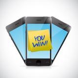 De telefoons en u winnen het ontwerp van de berichtillustratie Stock Fotografie