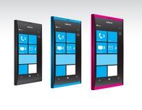 De Telefoons van de Vensters van Nokia Lumia in Kleur Stock Foto's