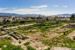 De Telesterion-zaal in archeologische plaats van Eleusis Eleusina in Attica Greece stock afbeeldingen
