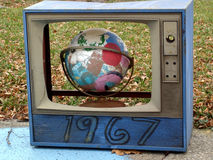 De televisie van de wereld stock foto's