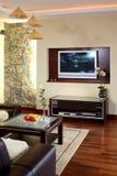 De televisie van de woonkamer stock foto's