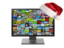 De televisie van Kerstmis stock foto