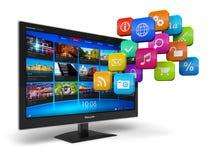 De televisieconcept van Internet Stock Foto's