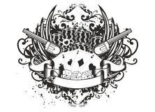 De teller en de revolvers van de kaart Royalty-vrije Stock Afbeeldingen