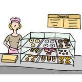 De teller van de doughnutwinkel Stock Afbeelding