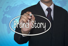 De teller van het bedrijfsconceptenhandschrift en schrijft Merkverhaal Royalty-vrije Stock Foto