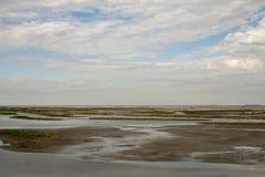De Teller Wadden in Nederland met blauwe bewolkte hemel royalty-vrije stock afbeeldingen