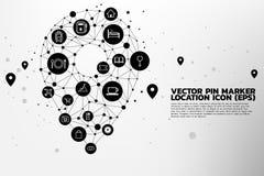 De tellerssignage van de plaatsspeld met nuts functioneel pictogram dat gestalte wordt gegeven vector illustratie