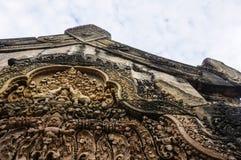 De tempel die van BANTEAY SREI, wijd als kostbare gem ` van `, of `-juweel van Khmer art. worden geprijst ` stock afbeeldingen