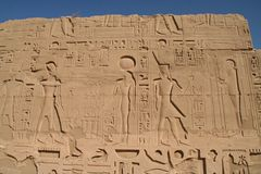 De Tempel Luxor van Karnak van hiërogliefen Stock Afbeelding