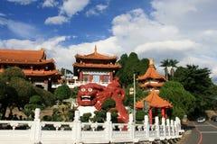 De tempel in Riyuetan-Pool, Taiwan Stock Foto
