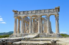 De Tempel van Aphaia in Aegina, Griekenland op 19 Juni, 2017 Stock Afbeeldingen