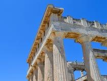 De Tempel van Aphaia in Aegina, Griekenland op 19 Juni, 2017 Stock Foto's