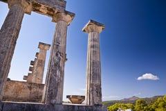 De tempel van Aphaia op Eiland Aegina Stock Afbeeldingen