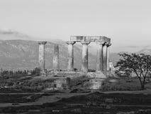 De tempel van Apollo in Corinth Griekenland Stock Fotografie