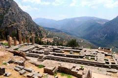 De tempel van Apollo in Delphi Stock Afbeelding