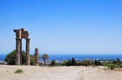 De tempel van Apollo met het landschap van Rhodos Stock Foto's