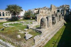 De tempel van Apollo in Siracusa - Sicilië Stock Foto's