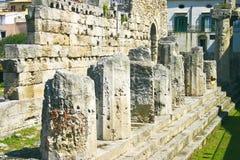 De tempel van Apollo in Syracuse Stock Afbeelding