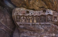 De Tempel van de Badamiberg - Gravures royalty-vrije stock afbeelding