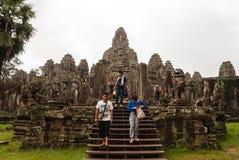 De Tempel van Bayon, Kambodja Stock Afbeeldingen
