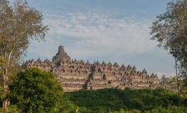 De tempel van Borobudur bij zonsopgang, Java, Indonesië Royalty-vrije Stock Foto's