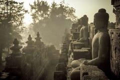 De tempel van Borobudur bij zonsopgang, Java, Indonesië Stock Foto