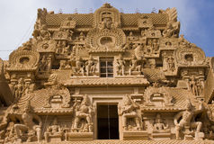 De Tempel van Brihadishvara - Thanjavur - India Stock Foto's