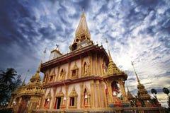 De Tempel van Chalong van Wat in Phuket Stock Foto's
