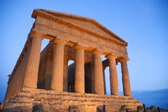 De Tempel van Concordia in Agrigento Stock Foto's
