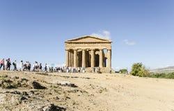 De tempel van Concordia in Agrigento, Sicilië Stock Foto's