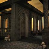 De tempel van de fantasie bij dageraad Stock Foto