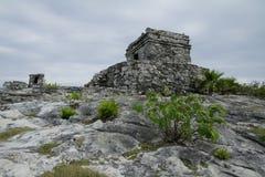 De Tempel van de God van winden in Tulum stock fotografie