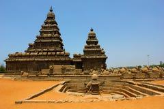 De tempel van de kust in Mahabalipuram, chennai, India stock fotografie