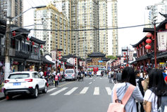 De Tempel van de stadsgod, of Chenghuang Miao, gebied in Shanghai Stock Afbeelding