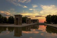 De Tempel van Debod bij zonsondergang Stock Foto