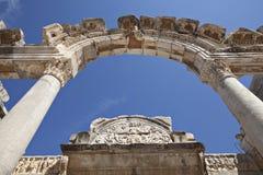 De Tempel van Hadrian, Ephesus, Izmir, Turkije Stock Foto's