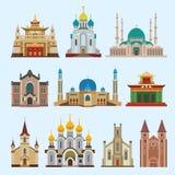De tempel van het de godsdienstcredo van de kathedraalkerk dfferent traditionele het toerisme vectorillustratie van het de bouwor Stock Foto's