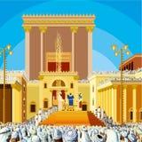 De Tempel van Jeruzalem Een scène van Joodse Koning lang geleden in de era tweede in geroepen Hakhel Het festival Sukkot Stock Afbeelding