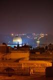 De tempel van Jeruzalem zet panorama bij nacht op Royalty-vrije Stock Foto's