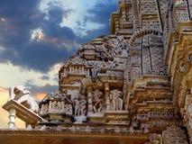 De tempel van Khajuraho. India Stock Afbeelding