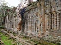 De tempel van Khan van Preah in Angkor stock afbeeldingen