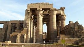 De tempel van Komombo langs de rivier Nijl in Egypte stock afbeelding