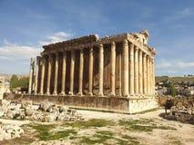 De tempel van Libanon Baalbek van bacchus volledige Ruine buiten zonnige dag stock afbeelding